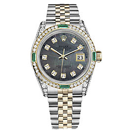 Rolex Datejust Two Tone Black Mother Of Pearl Emerald & Diamond Dial 26mm Womens Watch