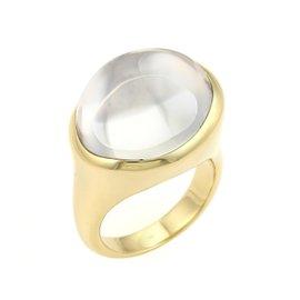 Tiffany & Co. Elsa Peretti 18k Yellow Gold Rock Cabochon Crystal Ring Size 8