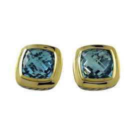 David Yurman Albion 18K Yellow Gold and Sterling Silver Blue Topaz Earrings