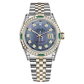 Rolex Datejust Stainless Steel & 18K Gold Tahitian MOP Emerald Diamond Dial 31mm Womens Watch