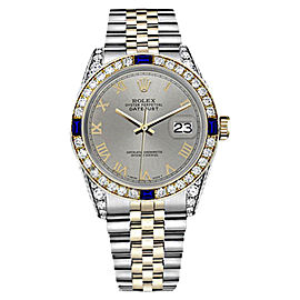 Rolex Datejust 2Tone Slate Grey Roman Numeral Sapphire & Diamond Womens 26mm Watch