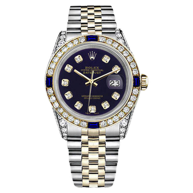 "Image of ""Rolex Datejust 18K Gold Stainless Steel Purple Sapphire Diamond"""