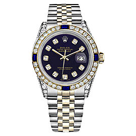 Rolex Datejust 18K Gold Stainless Steel Purple Sapphire Diamond Jubilee Womens 26mm Watch