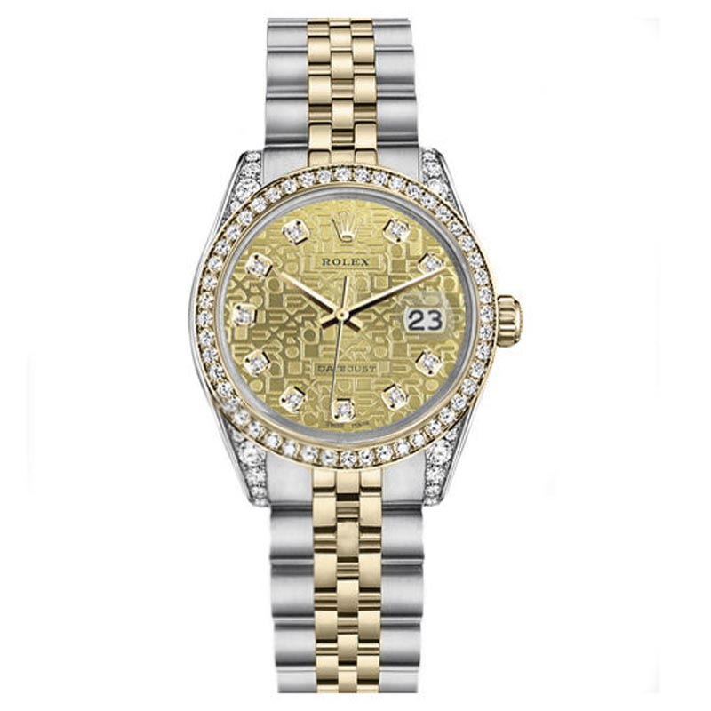 """Image of """"Rolex Datejust Stainless Steel + 18K Gold Champagne Logo Diamond"""""""