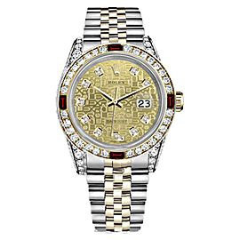 Rolex Datejust Champagne Face 18K Gold Ruby & Diamond Womens 26mm Watch
