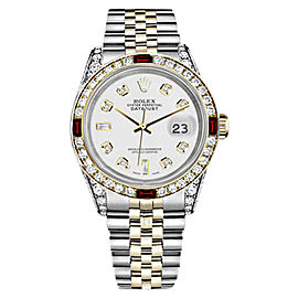 Rolex Datejust 18K Gold/Stainless Steel White 8+2 Dial Ruby & Diamond Jubilee Womens 26mm Watch