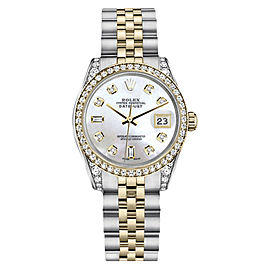Rolex Datejust 2Tone Stainless Steel White Mother of Pearl Diamond Womens 26mm Watch