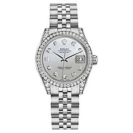 Rolex Datejust White Mother Of Pearl Diamond Stainless Steel Jubilee Womens 26mm Watch