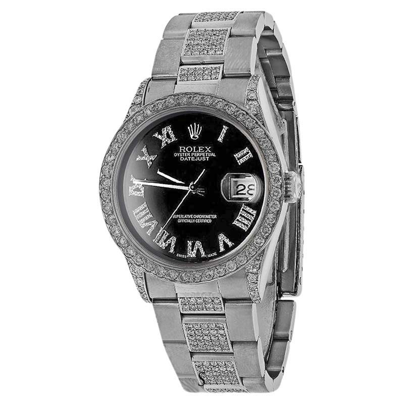 "Image of ""Rolex DateJust Stainless Steel Oyster Bracele Black Romain Dial 36mm"""