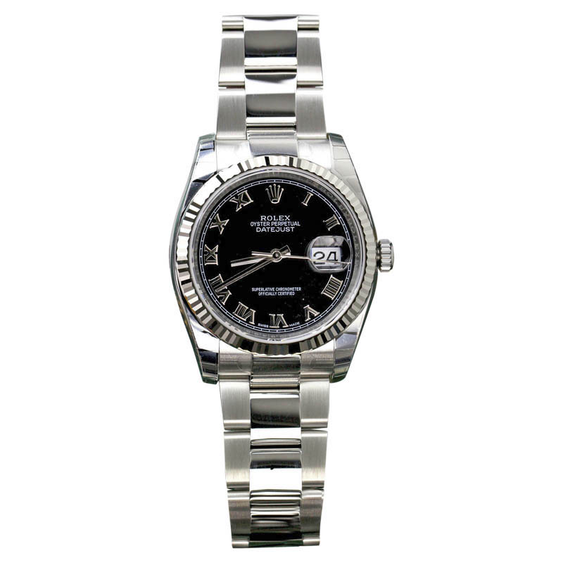 "Image of ""Rolex Datejust Stainless Steel Black Roman Dial 36mm Watch"""