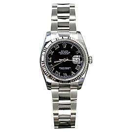 Rolex Datejust Stainless Steel Black Roman Dial 36mm Watch