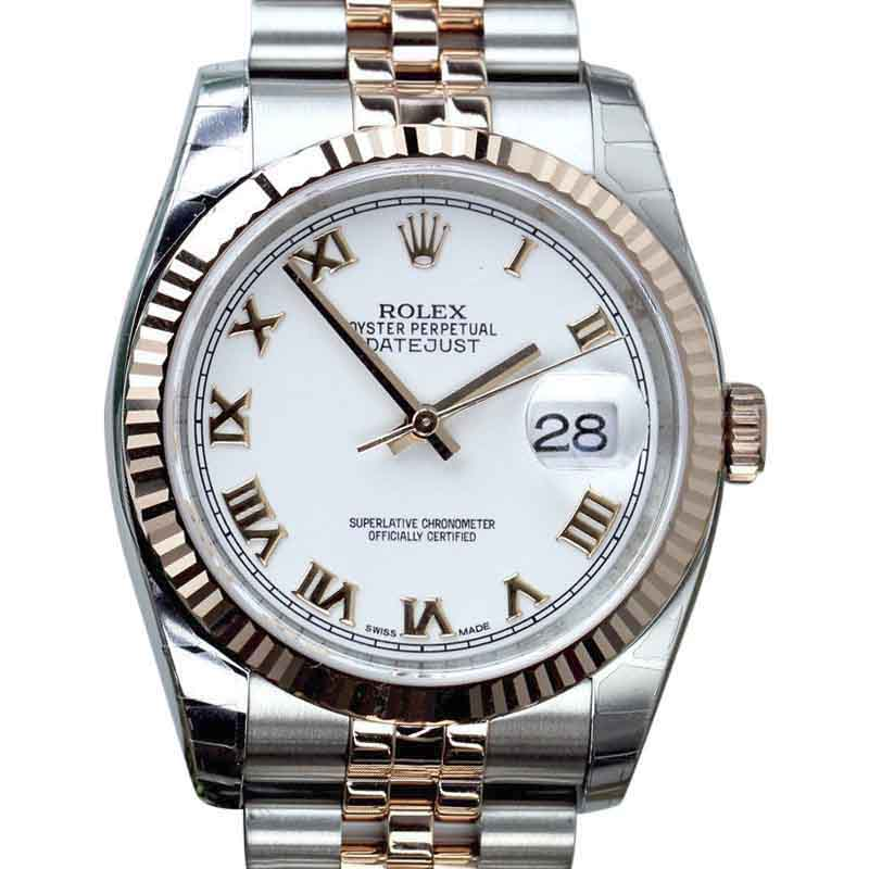 "Image of ""Rolex Datejust 18K Gold / Stainless Steel With White Roman Dial 36mm"""