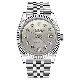 Rolex Datejust 18K White Gold Stainless Steel Silver Face Diamond Numbers Jubilee Womens 26mm Watch