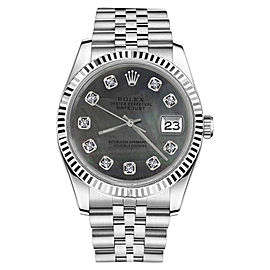 Rolex Datejust Black Mother Of Pearl Diamond Stainless Steel Jubilee Womens 26mm Watch