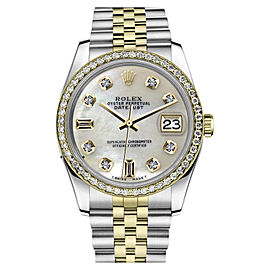 Rolex Datejust Stainless Steel/ 18K Gold White Mother Of Pearl 8+2 w Diamond 36mm Unisex Watch