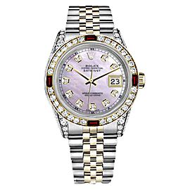 Rolex Datejust 18K Gold/Stainless Steel Pink Pearl Ruby Diamond Womens 26mm Watch