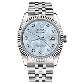 Rolex Datejust Baby Blue Mother Of Pearl Diamonds Stainless Steel Jubilee Womens 26mm Watch