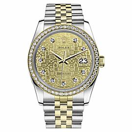 Rolex Datejust Stainless Steel/ 18K Gold Diamond Dial w/ Champagne Metal Logo Jubilee 36mm Unisex Watch