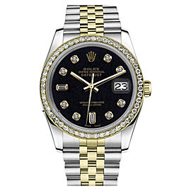 Rolex Datejust Stainless Steel/ 18K Gold Black Face 8+2 Diamond Dial/Bezel Jubilee 26mm Womens Watch
