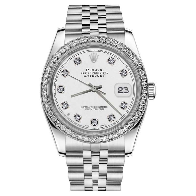 """Image of """"Rolex Datejust Stainless Steel White Classic Diamond Dial Jubilee 36mm"""""""
