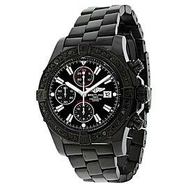 Breitling Super Avenger A13370 Stainless Steel Black Diamond Bezel 48.4mm Mens Watch
