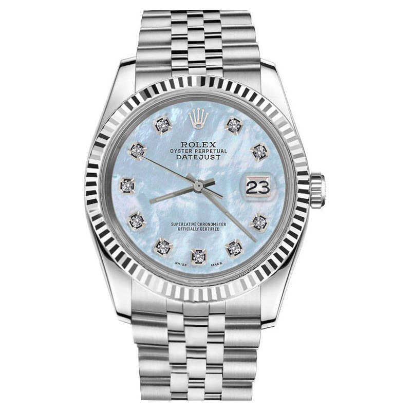 """Image of """"Rolex Datejust Mother Of Pearl Diamond Stainless Steel Jubilee Baby"""""""