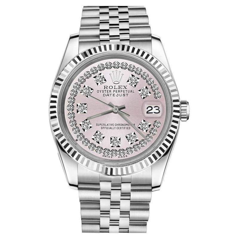 """Image of """"Rolex Datejust 18K & Stainless Steel Pink Face String Diamond Jubilee"""""""