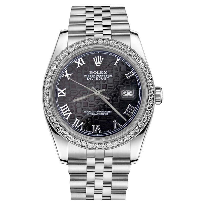 "Image of ""Rolex Datejust Stainless Steel Black Roman Numeral Diamond Bezel 36mm"""