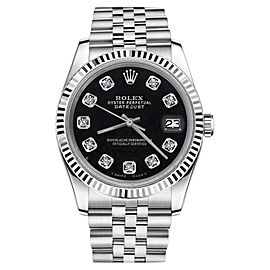 Rolex Datejust Black Diamond Dial 18K White Gold & Stainless Steel 26mm Womens Watch