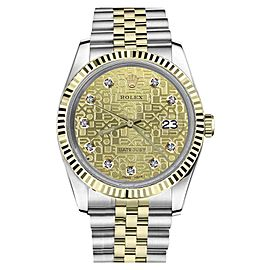 Rolex Datejust Logo Two-Tone Stainless Steel/ 18K Gold Diamond Champagne Gold Classic Jubilee 26mm Womens Watch