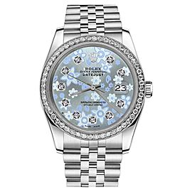 Rolex Datejust Stainless Steel Baby Blue Floral Design Diamond Dial Jubilee 26mm Womens Watch