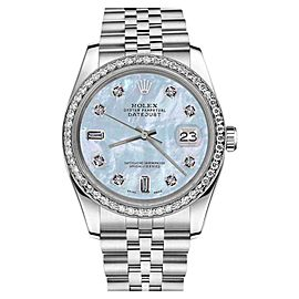Rolex Datejust Stainless Steel With Blue Mother Of Pearl Dial 26mm Womens Watch