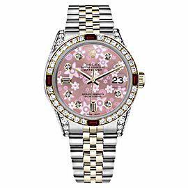 Rolex Datejust Stainless Steel/ 18K Gold Ruby & Diamond Jubilee Pink Flower 31mm Womens Watch