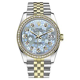 Rolex Datejust Stainless Steel/ 18K Gold Ice Blue Flower Diamond Accent Jubilee 26mm Womens Watch