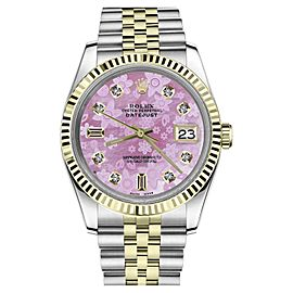 Rolex Datejust Stainless Steel/ 18K Gold Pink Floral Mother Of Pearl with 8+2 Diamond Numbers 26mm Womens Watch