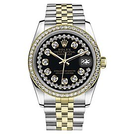 Rolex Datejust Stainless Steel/ 18K Gold Black Face String Diamond Accent Jubilee 26mm Womens Watch