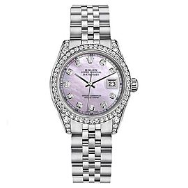 Rolex Datejust Stainless Steel With Pink Mother of Pearl Diamond Dial 26mm Womens Watch