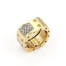 Roberto Coin 18K Yellow Gold Pois Moi Pave Diamonds Wide Band Ring Size 6.5