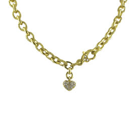 Judith Ripka 18K Yellow Gold Oval Chain Link Diamond Necklace