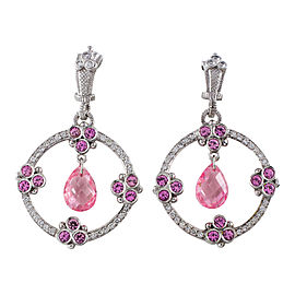 Judith Ripka 18K White Gold Pink Sapphire Diamond Rock Crystal Earrings