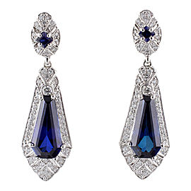 Judith Ripka 18K White Gold Pave Diamond & Synthetic Sapphire Earrings