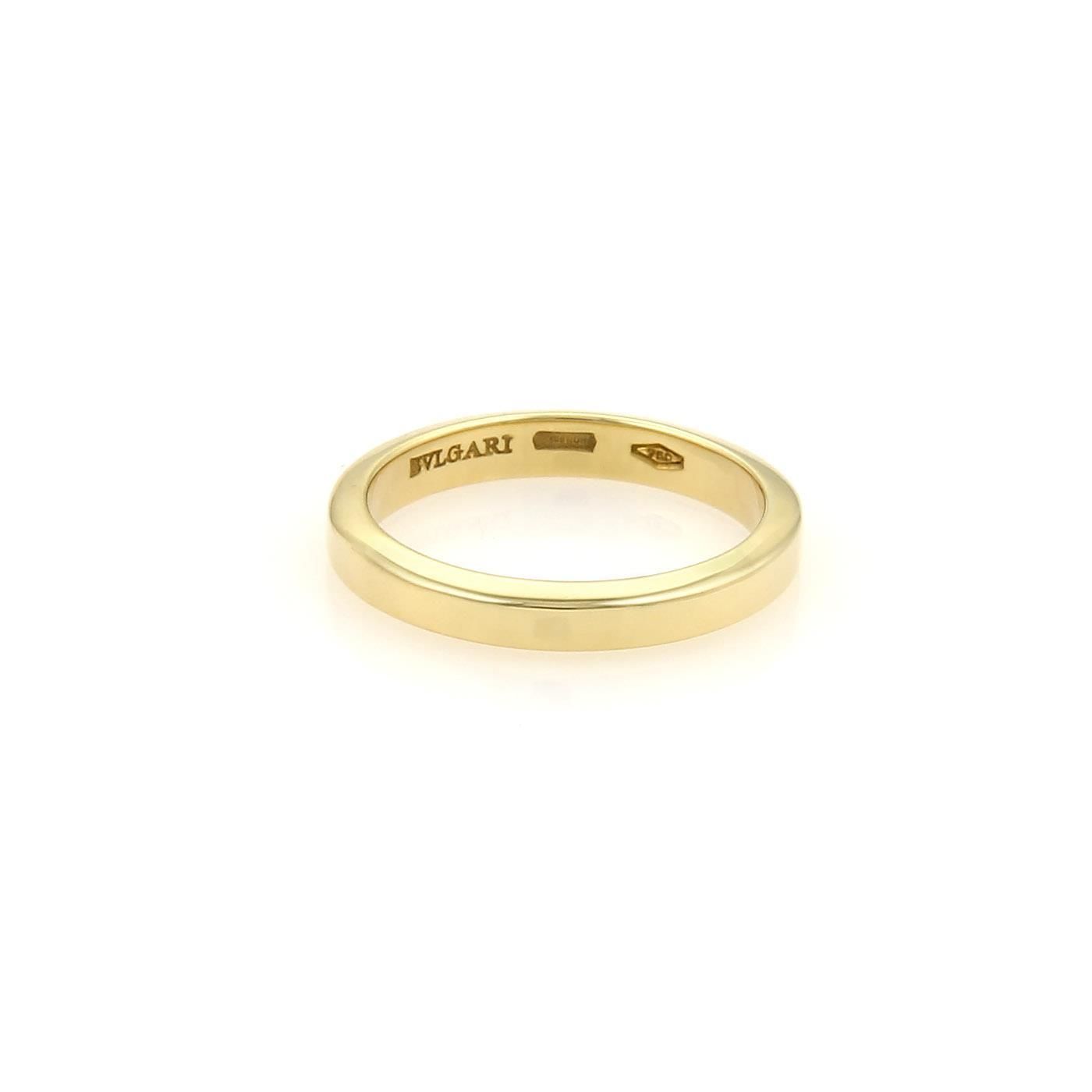 """""Bulgar 18K Yellow Gold Flat Plain Wedding Band Ring Size 5.75"""""" 969100"
