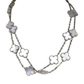 Van Cleef & Arpels 18K White Gold Mother of Pearl Long Vintage Alhambra 20 Motif Necklace