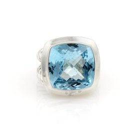 David Yurman Albion Cable Sterling Silver Blue Topaz Ring Size 7