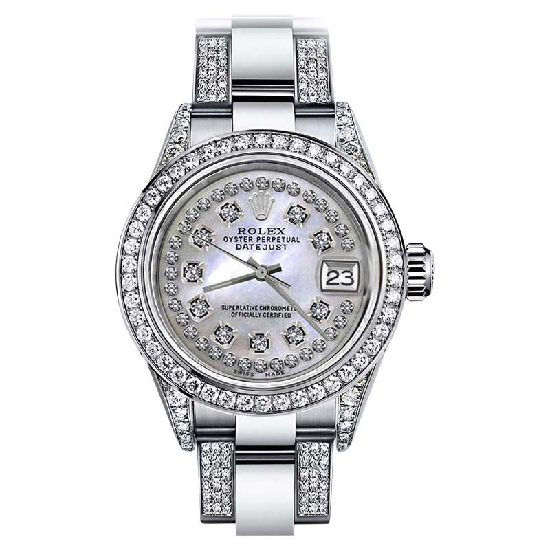 """Image of """"Rolex Datejust Stainless Steel White Mother Of Pearl Diamond Dial 26mm"""""""