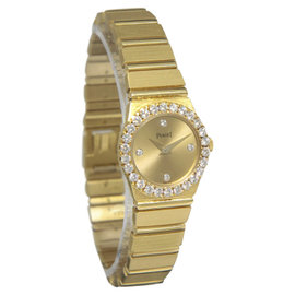 Piaget Polo 8296 C 701 18K Yellow Gold Diamond Quartz 21mm Womens Watch