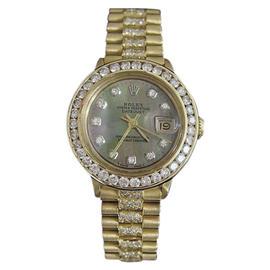 Rolex Datejust 6517 18K Yellow Gold Diamond Dial, Bezel & Band 26mm Womens Watch
