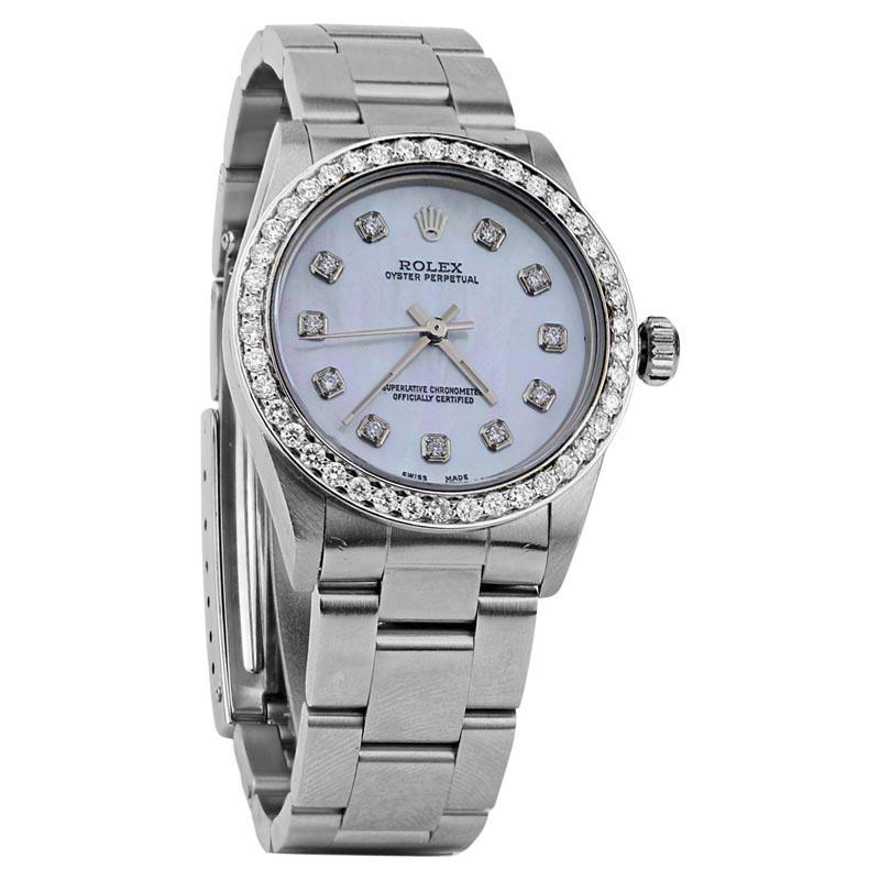 "Image of ""Rolex No-Date Stainless Steel Mother of Pearl & Diamond 26mm Womens"""