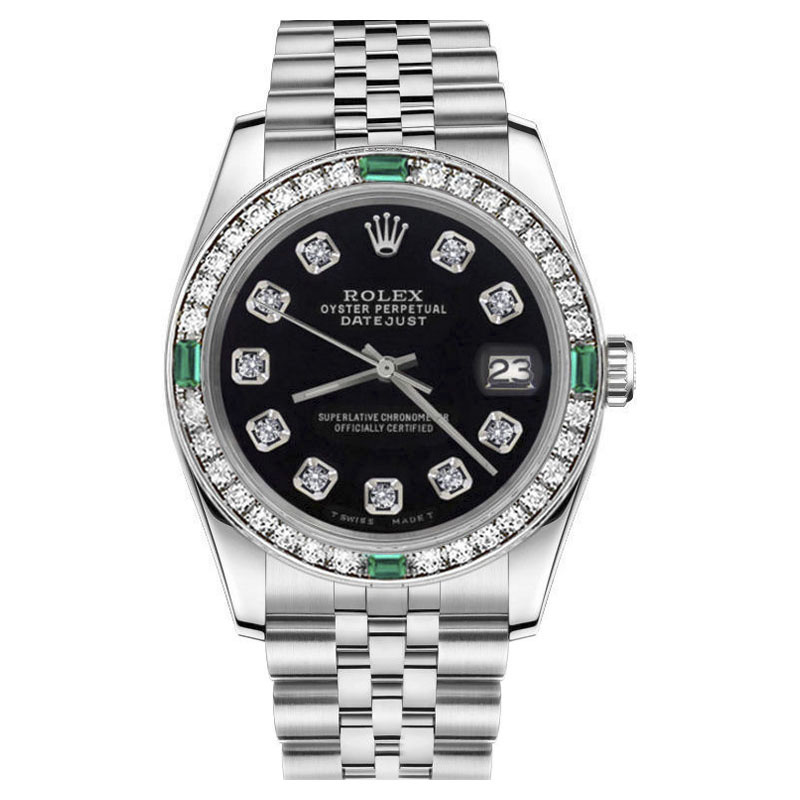 """Image of """"Rolex Datejust Black Diamond Face w/ Real Emeralds Stainless Steel"""""""