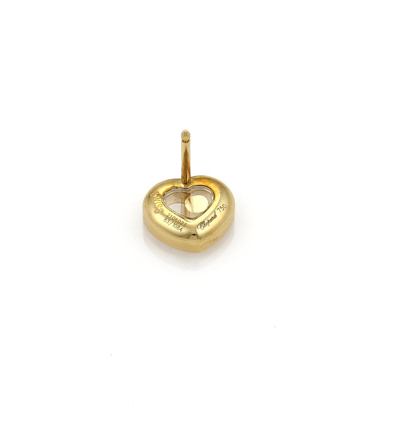 "Image of ""Chopard Happy 18K Yellow Gold Diamond Hearts Stud Earrings"""
